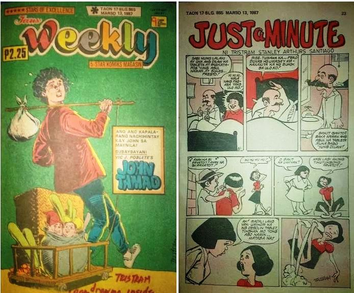 "his first one-page cartoon ""Just a Minute"" in 'Teens Weekly' comic magazine on March 13, 1987. He also did a Teens Weekly comic cover on March 18 of the same year"