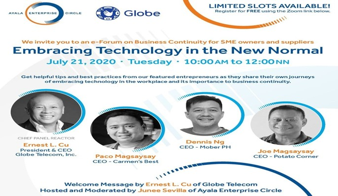 Globe and Ayala Enterprise Circle to hold free webinar for SMEs for the new normal 2020 - Bravo Filipino