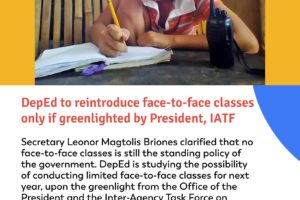 DepEd to reintroduce face-to-face classes only