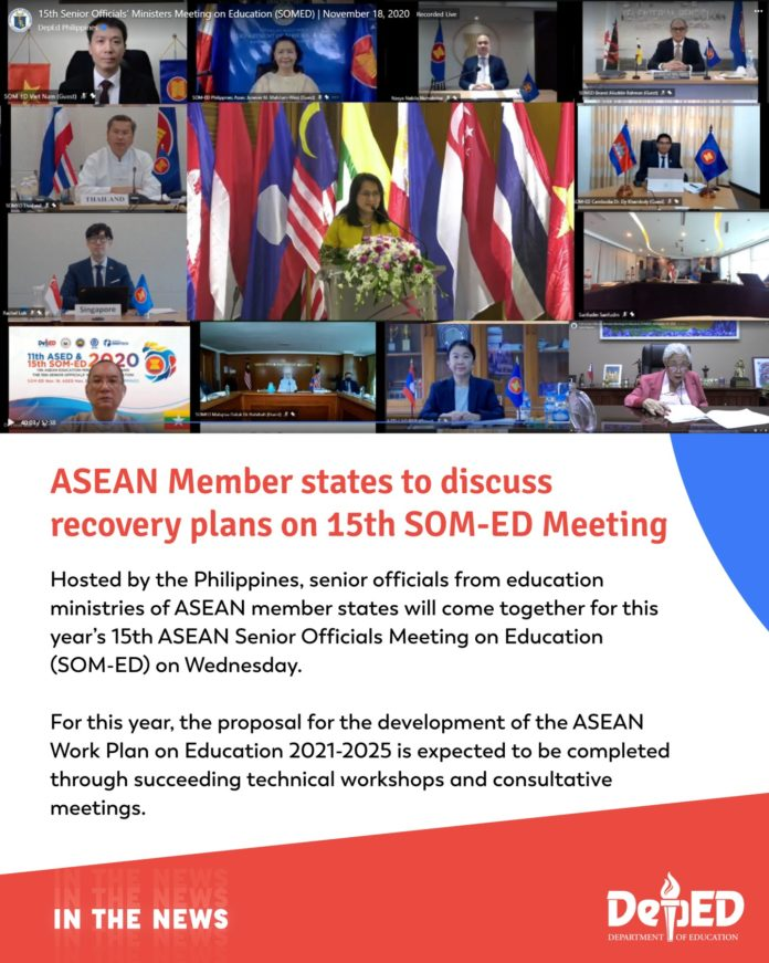 ASEAN Member states to discuss recovery plans on 15th SOM-ED Meeting | November 18, 2020 -- Hosted by the Philippines, senior officials from education ministries of ASEAN