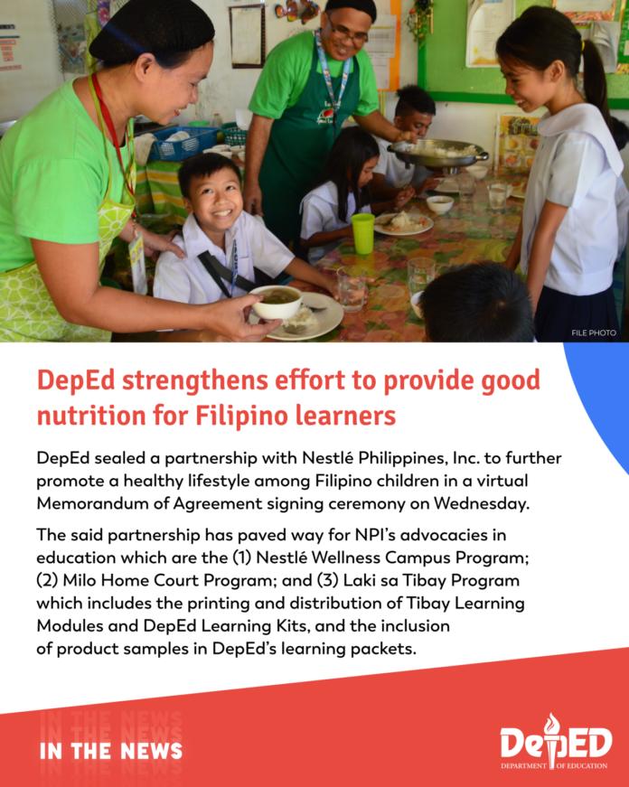 DepEd strengthens effort to provide good nutrition