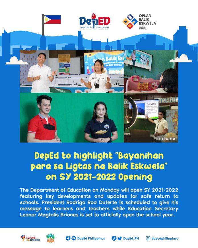 DepEd to highlight Bayanihan para sa Ligtas na Balik Eskwela on SY 2021-2022 Opening