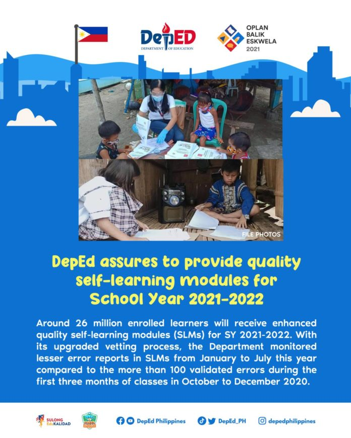 DepEd assures to provide quality self-learning modules