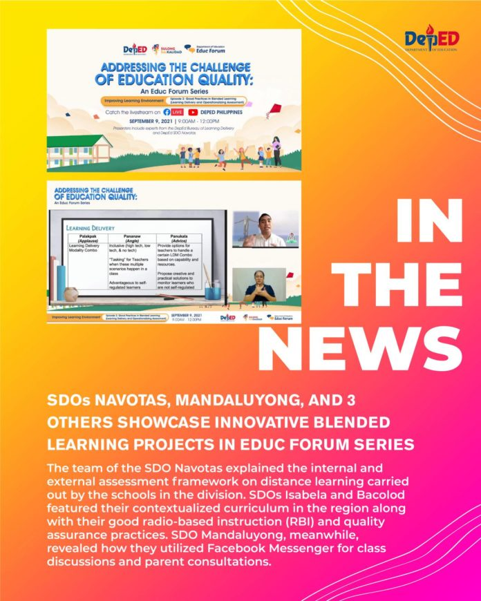 SDOs Navotas Mandaluyong and 3 others showcase innovative blended learning projects in Educ Forum series